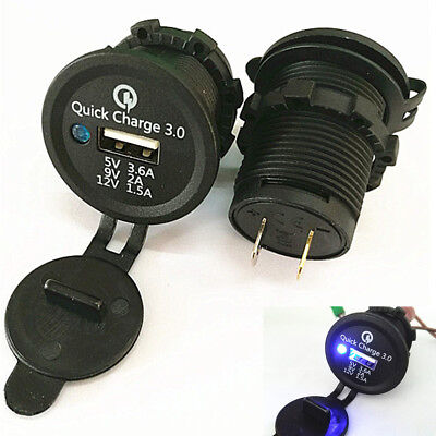 Waterproof 3.6A Blue LED ABS USB Quick Charge 3.0 Car Motorcycle Charger Adapter