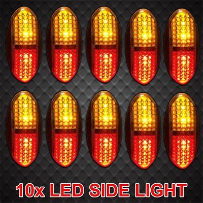10pcs 12V 24V Truck LED Side Marker DC Amber Red Clearance Lights Trailer Truck
