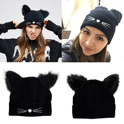 Women Devil Horns Cat Ear Winter Beanie Crochet Braided Knit Ski Wool Cap Hats_