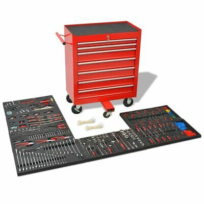 vidaXL Workshop Tool Trolley with 1125 Tools Steel Red Workshop Storage Cart