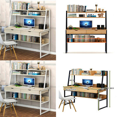 Computer Desk With Shelves Cupboard  2 Drawers Bookshelf  Storage Home Office UK