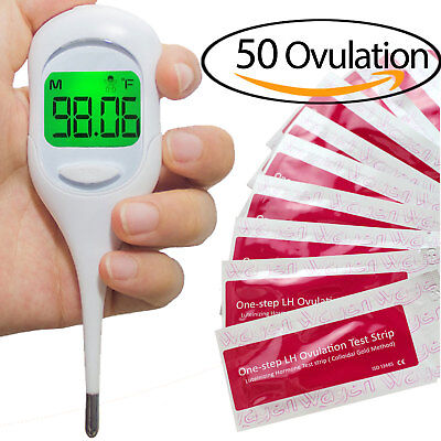 50 Ovulation (LH) Test Strips  &  Fast Basal Thermometer 1/100th Kit(50LH+BBT)