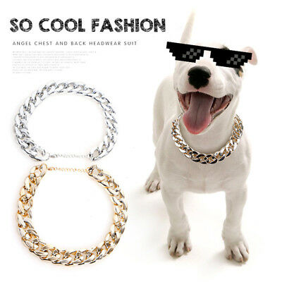 Pet Choke Chain Gold Silver Collar Necklace For Small Dog French Bulldog Cool