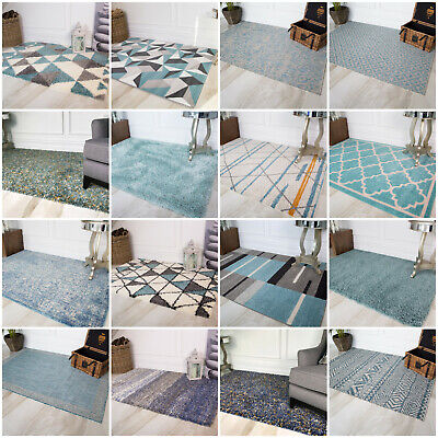 Modern Moroccan Duck Egg Blue Living Room Rugs Soft Non Shed Warm Shaggy Rug UK