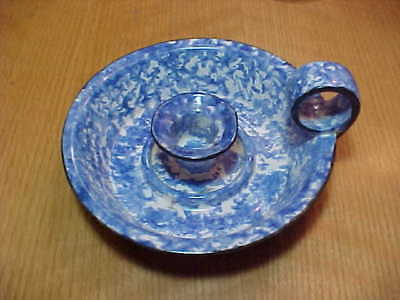 Stangl Blue White Spongeware Pottery Candle Holder Town And Country