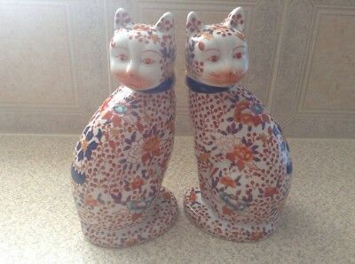 Japanese Imari Hand Decorated Large Twin Cats Signed