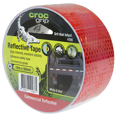 Croc Grip REFLECTIVE SAFETY TAPE 10mx50mm Self Adhesive WHITE/RED *Aust Brand
