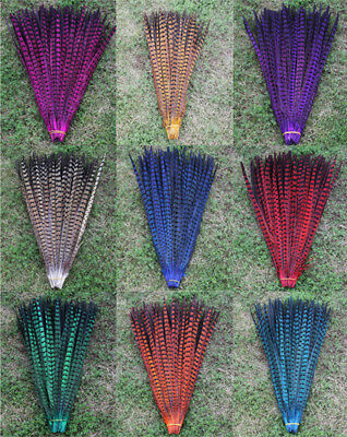 10pcs Pheasant Tail Feathers 25-30cm Wedding Fly Tying Arts Crafts Hats