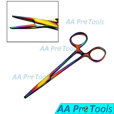 """Multi Rainbow Color Mosquito Hemostat Forceps 5"""" Straight Pliers Stainless Steel"""
