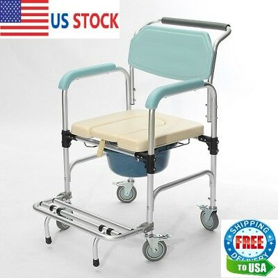 Commode Wheelchair Bedside Toilet & Shower Seat Bathroom Rolling Chair 3-in-1