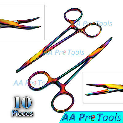 10 Pcs Mosquito Hemostat Locking Forceps 5 Curved & 5 Straight Rainbow Coated