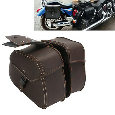 1 Pair Motorcycle Luggage Pannier Saddle Side Bags Fit Harley Dyna Chopper Honda