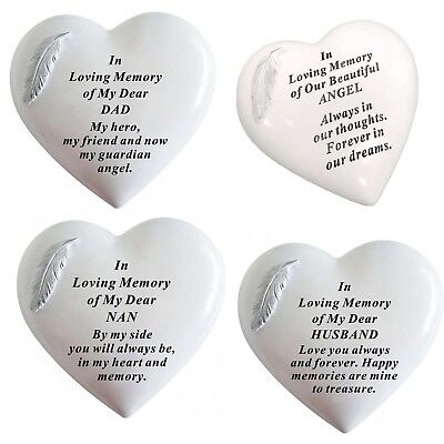 Memorial Heart White & Silver Angel Feather Tribute, Remembrance  Grave Ornament