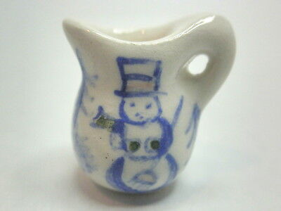 Dollhouse Miniature ceramic country style  pitcher- snowman