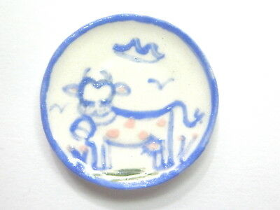 Dollhouse Miniature ceramic plate - Country style cow