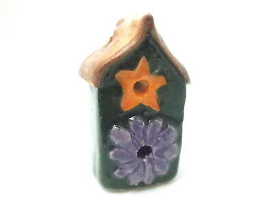 Dollhouse Miniature hand made hand painted tall ceramic bird house- C. Lecoutre