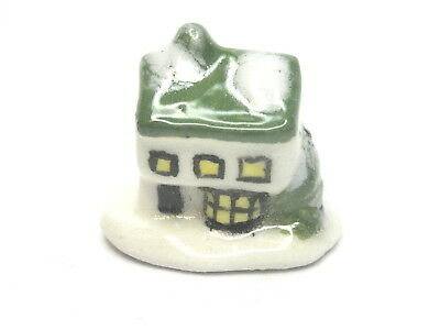 Dollhouse Miniature ceramic Christmas cottage-green