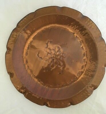 VINTAGE AUSTRALIAN HAND MADE COPPER WALL Hanging / PLATE WEEDA TASMANIA