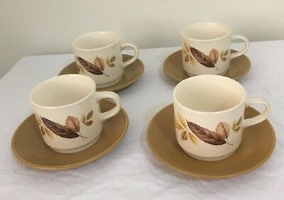 JOHNSON OF AUSTRALIA Cups & Sauces X 4 'AUTUMN LEAVES' Very Good Condition