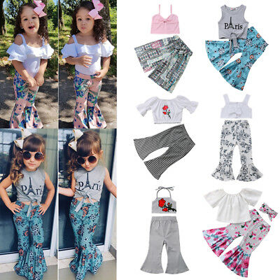 45f04f42a3c3 Kids Baby Girl Off Shoulder Crop Tops Bell-bottoms Pants Headband Outfit  Clothes