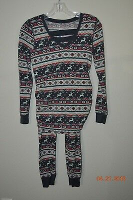 Old Navy Maternity Fitted Size Small Thermal Long-John Pajama Set Reindeer Print