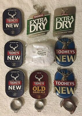 Tooheys New, Old Dark Ale, Extra Dry TED Tap Beer Badge Decals Mancave Lager Top