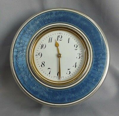 Antique French silver gilt and grey/blue guilloche enamel box with 8 day clock