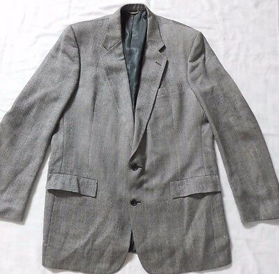 CHRISTIAN DIOR Men's  Herringbone Black/Gray Sports Coat/Jacket Blazer TWEED 48R