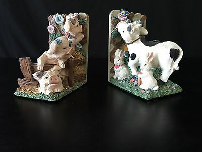 Sweet Farm Childrens Bookends Pigs, Rabbits and Cow