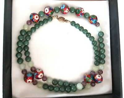 "Vintage JADE/Amethyst&ENAMEL Guillouche BEADED Asian NECKLACE-Horchow Box-34+""L"
