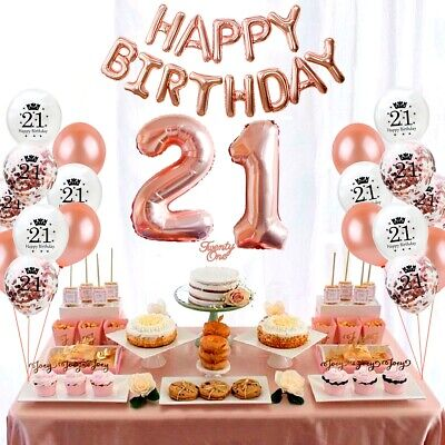24 Pc Happy Birthday Balloon Set Rose Gold Foil Confetti Ballon Party Decoration
