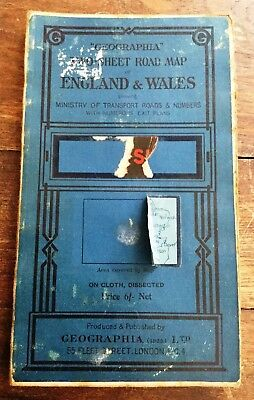 Old Cloth Road Map 1923 Geographia  Of England & Wales Dissected SOUTH SHEET