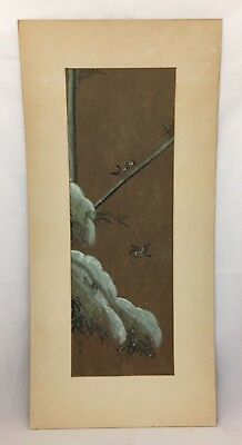 Old Asian Japanese Art Painting On Board Sparrows Birds Bamboo Tree Branch Cloud