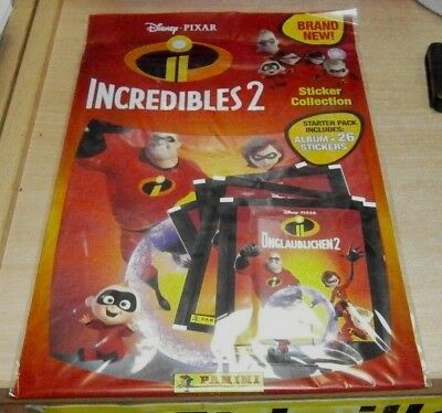 Panini Pixar Incredibles 2  Stickers Collection Album Starter Pack + 26 Stickers