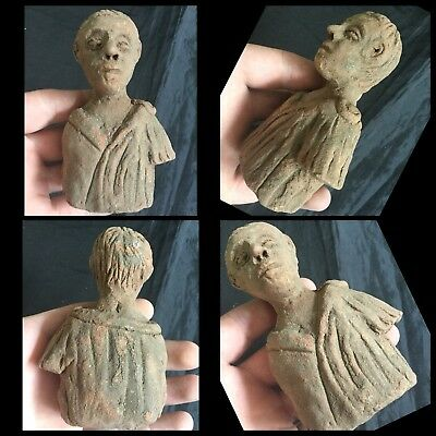 Superb  Rare Ancient Terracotta Gandharan Bust Of Male 4th /5th Cent BC