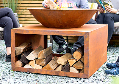 Cast Iron Natural Rusted Garden Fire Pit Outdoor Patio Heater In-Built Log Store