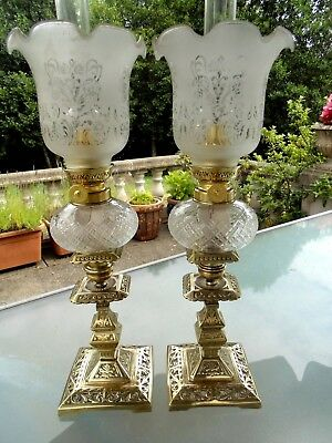 A Lovely Matching Pair Of Genuine Victorian Period French Peg Oil Lamps.