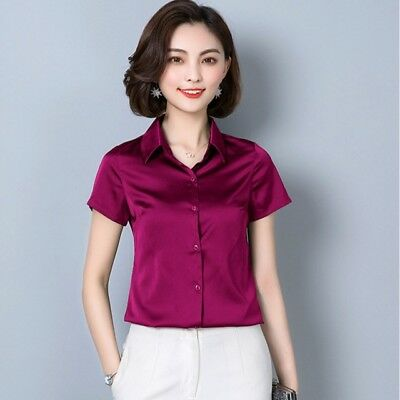 0d271f3ed Lady Faux Silk Satin Shirt Short Sleeve Buckle Down Slim Fitted Shiny Blouse  Top