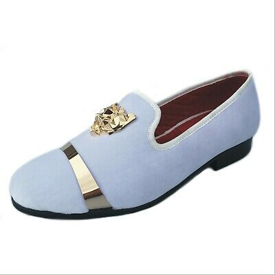 17ba6e3d671 Men s Velvet Slippers White Loafers Wedding Dress Shoes with Gold Buckle  Flats