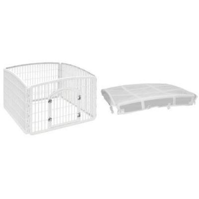 Iris Dog Pet Exercise Play Pen Fence Yard Kennel Gate Cage White Lawn Safe