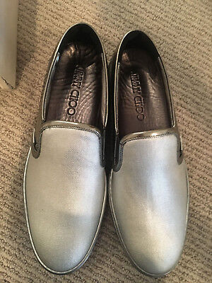 0f106001d011 New JIMMY CHOO Men s Shoes GROVE MMK Gunmetal Silver Glitter Slip on 43 US10