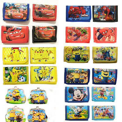 Mickey Spiderman Pokemon Minions Children Boys Wallet Kids Cartoon Coin Purse