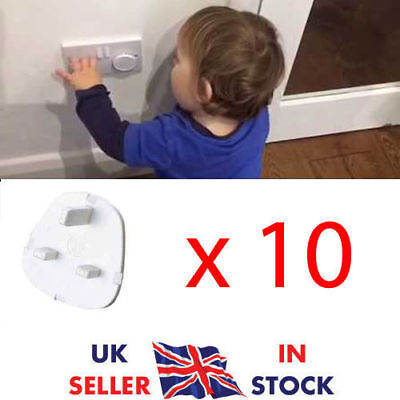 10 x ELECTRICAL PLUG PROTECTOR SOCKET SAFETY COVERS CHILD BABY MAINS SOCKET UK