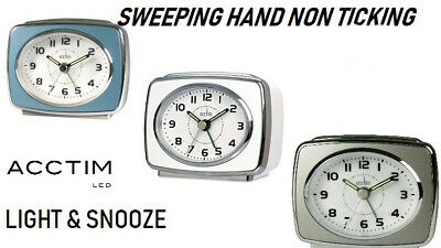 Acctim Retro Non Ticking Alarm Clock Light & Snooze Silver Bezel New Branded
