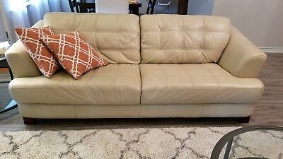 Gently Used Pair Of Matching Leather Sofas Cream Taupe Soft Yet Sy