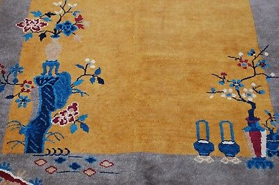 Circa 1920s ANTIQUE  ART DECO WALTER NICHOLS CHINESE RUG 4.1x6.10 GOLD FIELD