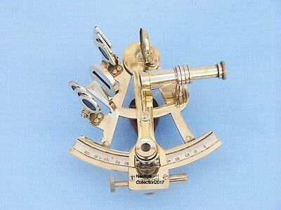 "Nautical Solid Brass 5"" Marine Sextant - Vintage Navigational Ship Insrtument."