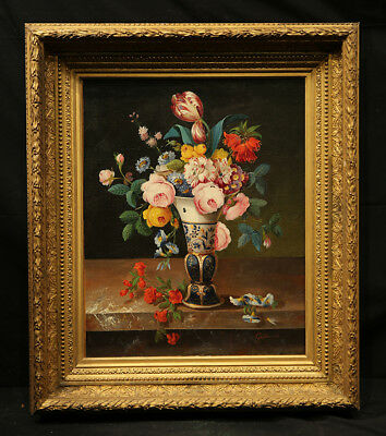 Impressive  Antique 19th Century French Painting Flower Still Life