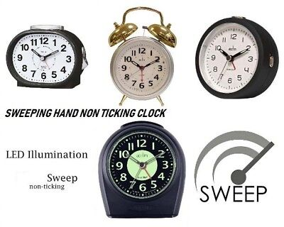 Acctim Non Ticking Sweeping Hand Alarm Clocks With Snooze & Light & Other Models