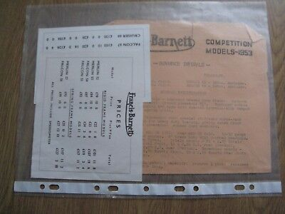 Francis Barnett 1953 competition and price lists Brochures